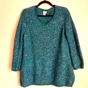 Chico's sweater turquoise/metallic size 1 bi 111